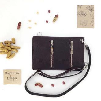 """Кожаный поясной карман, сумка для денег """"Арахис"""" (бордовая рептилия)"""