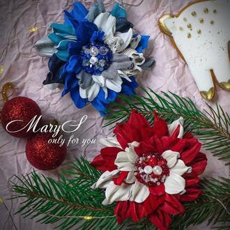 Брошь-цветок из кожи «MaryS Leather Accessories», подарок на 8 Марта