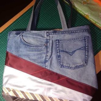 Джинсовая сумка шопер пэчворк
