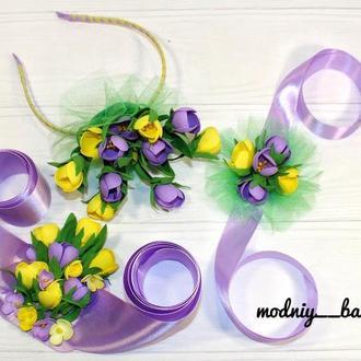 Набор обруч с весенними цветами крокусами+пояс+браслет