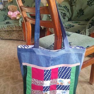Джинсовая сумка шоппер пэчворк