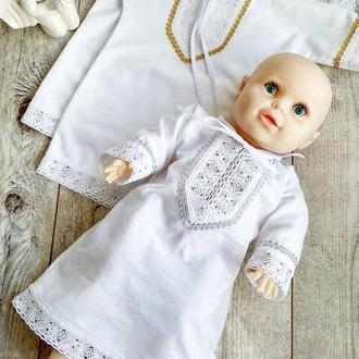 Крестильная рубашка сорочка из мягкой фланели  с золотой или серебристой тесьмой