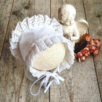 Чепчик детский крестильный, крестильная шапочка