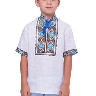 Вишиванка для хлопчика Волошки (льон білий)