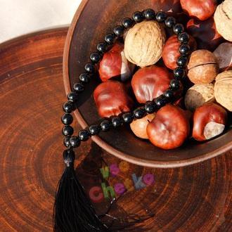 Четки из черного турмалина (шерл) на 33 бусины с черной кисточкой