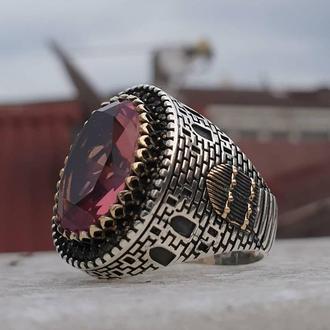 Мужское украшение из серебра кольцо Суотанит Залтанит Диаспор 925 пробы с гравировкой ручной работы