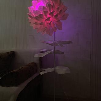Необычный торшер цветок с цветной светодиодной лампочкой