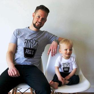 """Парные футболки Family Look. Папа и сын """"Fries"""" Push IT"""