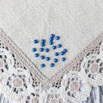 Полубусины синие 6 мм, 20 г