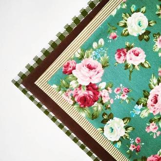 Набор ткани ля рукоделия клетка хаки и цветы 4шт.