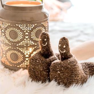 Варежки подарочные вязаные веселые забавные коричневые, подарок девушке сестре подруге