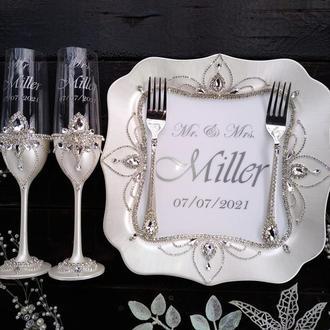 """Свадебный набор """"Сияние """"в белом перламутре и серебре"""