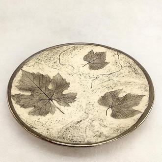 Большое песочное керамическое блюдо ручной работы, 34 см диаметр,арт.№21