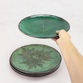 Велика глянсова зелена керамічна тарілка ручної роботи, 28 см діаметр, арт.№19