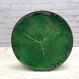 Большая глянцевая зеленая керамическая тарелка ручной работы, 28 см диаметр, арт.№19
