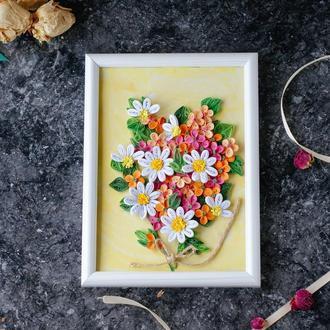 """Картина в техніці квілінг """"Весна"""" з паперовими квітами (декор для дому)"""