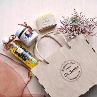 Подарочная сумка-BOX Гель для душа Крем для тела Натуральное мыло Do scripa