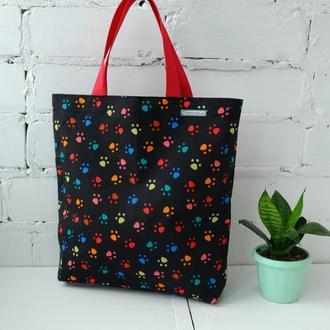 Эко сумка для покупок с лапками, сумка пакет, эко торба, котосумка, шоппер 51(2)