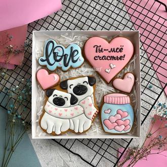 Пряники на День влюбленных «Мопсы»