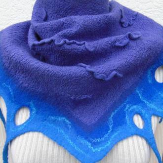 Валяный шарф Валяный бактус Валяный шарф из шерсти  Шарф-косынка