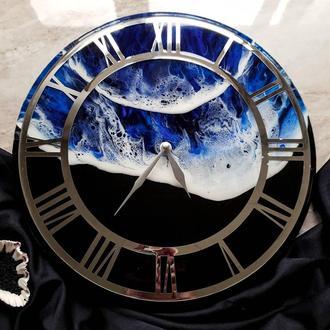 """Годинник з епоксидної смоли """"Море"""""""