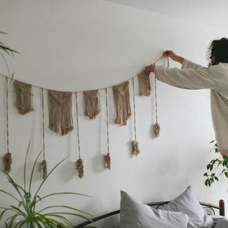 Гирлянда макраме Праздничная гирлянда Гирлянда для праздника Плетенная гирлянда Натуральный декор
