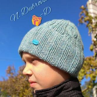 Вязанная шапка мужская, демисезонная, еврозима, из английской шерсти, handmade