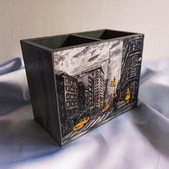 Стильная настольная карандашница (органайзео) ′Лондон′, двойная