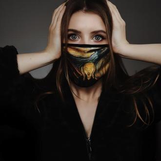 Маска багаторазова картина Крик, Арт маска захисна