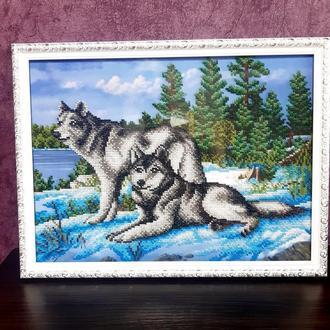 Вышивка бисером Картина бисером Волки