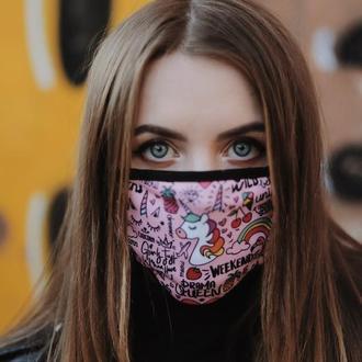 Маска багаторазова з Єдинорогом, Маска Єдиноріг, Жіноча маска для обличчя