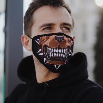 Багаторазова  маска Пітбуль. Чоловіча крута маска з принтом