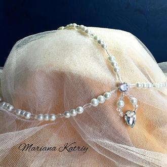 Набор украшений для невесты: тика на голову, сережки