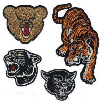 Вышитые нашивки Медведи Тигры Пантеры. Набор 4 шт. Артикул 69681