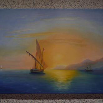 "Картина ""Закат в Италии"" по мотивам И. Айвазовского"