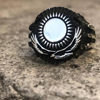 Кольцо с рисунком солнце и Орел Черненное серебро с гравировкой  Мусульманская символика