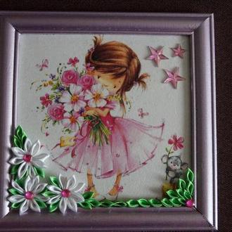 """Картина """"Девочка с цветами"""" в детскую комнату"""