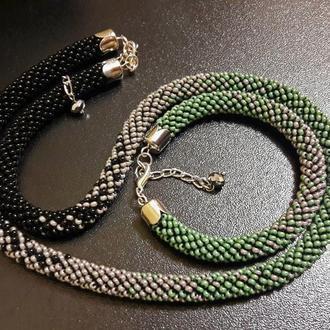"""Бисерный жгут и браслет  """"Серо-зеленая гармония"""""""