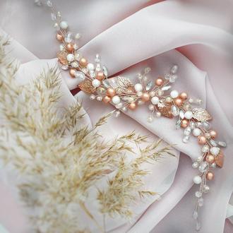 Свадебное украшение для волос, персиковая веточка в прическу,длинное украшение в прическу