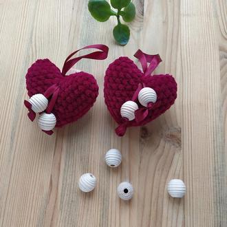 Сердечки вязаные, валентинки