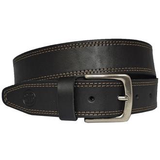 Ремень кожаный мужской черный прошитый с коричневой строчкой для джинсов Hans