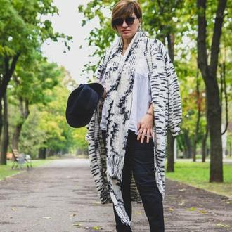 Кардиган и шарф ′Инь-янь′ комплект