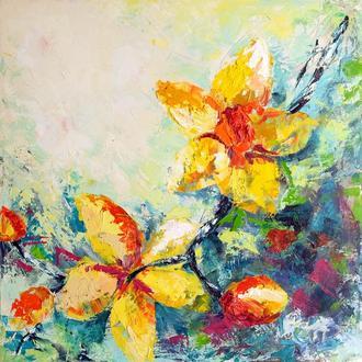 """Сучасна картина мастихіном """"Жовті орхідеї"""""""