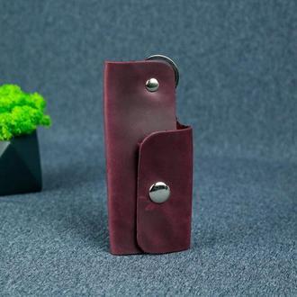 Ключница на кнопке №16, винтажная кожа, цвет бордо