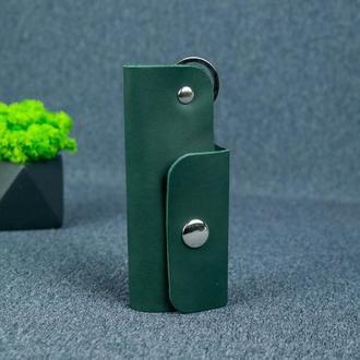 Ключница на кнопке №16, кожа итальянский краст, цвет зеленый