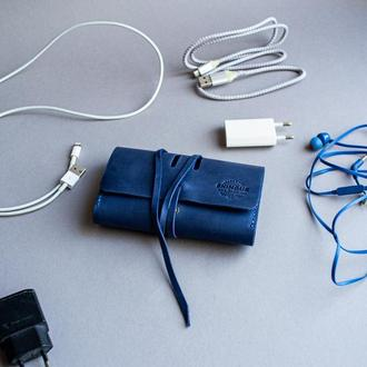 Органайзер для зарядних пристроїв, кабелів, навушників синій