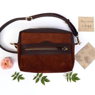 """Кожаная сумка на пояс""""Кориандр"""" (коричневая)"""