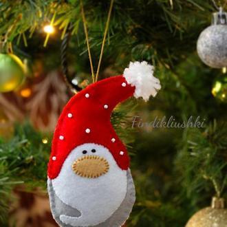 """Ёлочная игрушка из фетра """"Гномик"""". Игрушка на ёлку. Фетровые новогодние игрушки"""