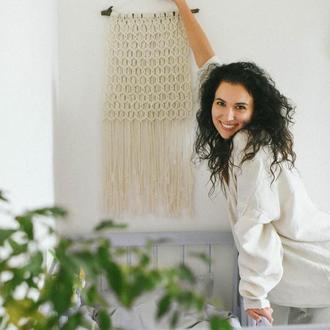 Длинное панно макраме Декор для стен Настенный декор Плетенное панно Хиппи Декор в бохо стиле