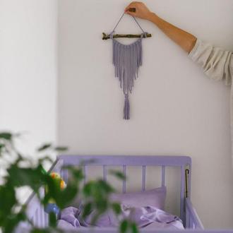 Фиолетовое панно Небольшое панно макраме Маленькое панно Декор для стен в бохо стиле Декор детской